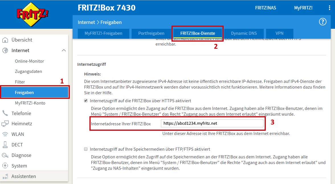 FRITZ!Box Webadresse