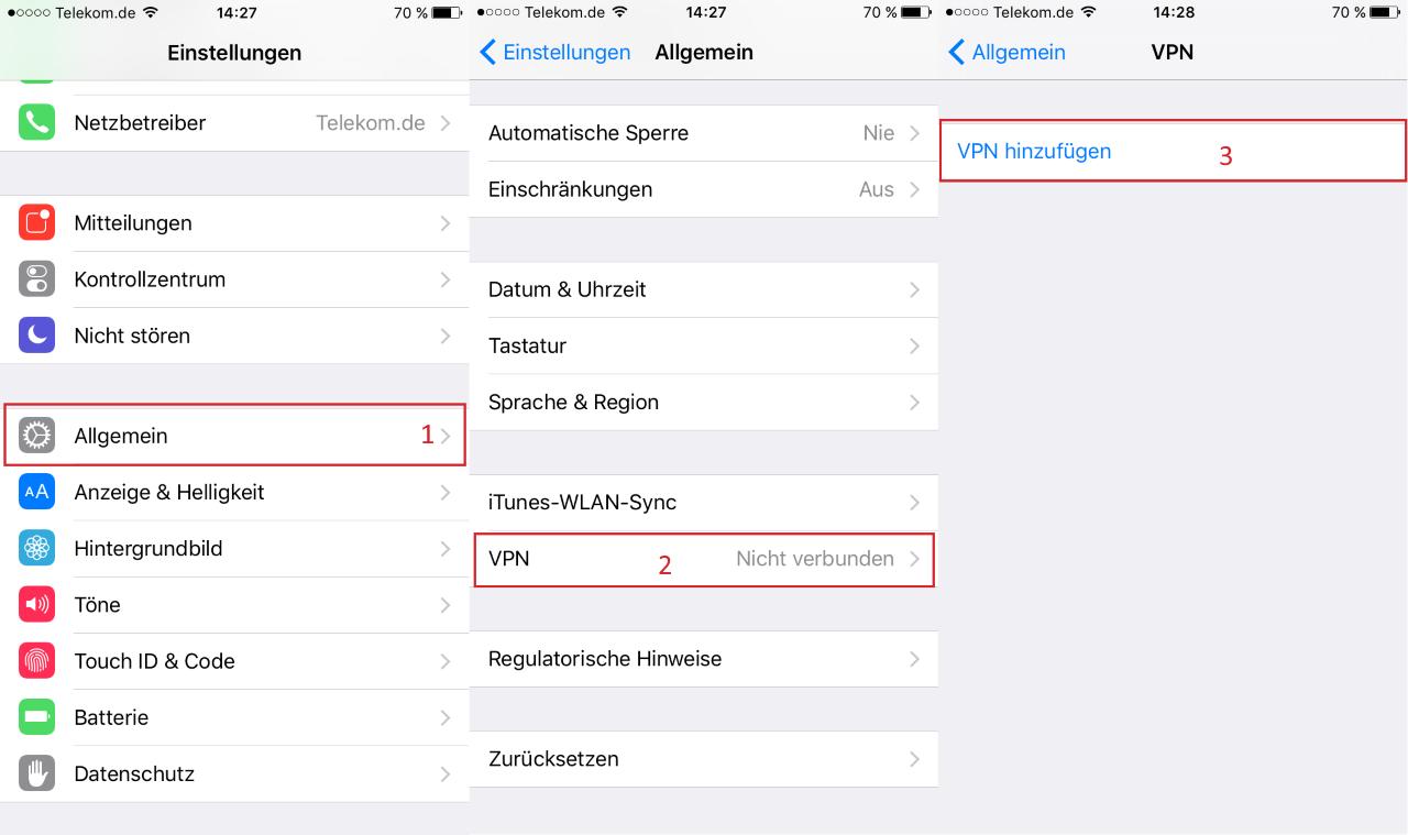 VPN Erstellen iOS
